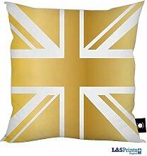 Gold Union Jack Design Kissen 45,7x 45,7cm tolle Geschenkidee hergestellt in Yorkshire