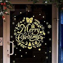 Gold Weihnachtsschmuck wand Aufkleber shop Glas Fenster Aufkleber Fenster Gitter Glocken rosette Szene Anordnung, 60 x 46 cm
