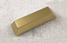 Goldbarren aus Kunststoff - Sehr leichte Spaßattrappe, Geschenkidee, Dekoattrappe, Dekoartikel, Deko Geschenk, Theater und Bühnen Requisite, Hohlattrappe Gold Barren als Weihnachtsgeschenk
