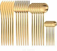 Goldbesteck Set Gabeln Messer Löffel Edelstahl