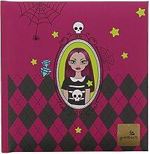 Goldbuch Poesiealbum, Vampire Girl Spiegel, 96 weiße Seiten, 16,5 x 16,5 cm, Kunstdruck laminiert, Pink, 41902