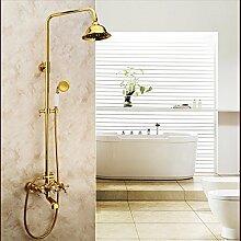 Golden alle Kupfer Dusche Badezimmer mit warmen und kalten Wasserhahn im Europäischen Stil Garten Dusche Big Top spray Dusche
