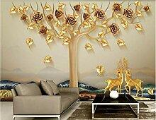 Golden Fototapete 3D 430Cmx300Cm Geld -Baum