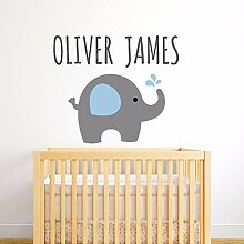 golden Kids Elefant Wandtattoos Custom Name