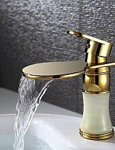 Golden Messing Wasserfall Waschbecken Wasserhahn