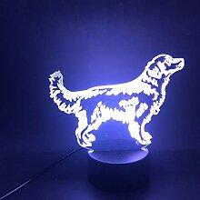 Golden Retriever .3D LED Nachtlicht Geschenk RGB 7