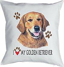 Golden Retriever - Bezug für Kissen - Geschenk Hundefreund Hundebesitzer - Hunde Motiv I love my Golden Retriever - Motiv Kissenhülle Deko 40x40cm weiß : )