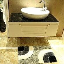 Golden Rule Badezimmer Matte Wolldecke Super absorbierbare rutschfeste Duschmatte gemischt schwarz und grau Badematte 50 × 80cm