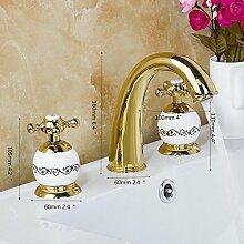 Golden verchromt Bad Armatur 3er Set Badewanne