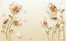 Goldene Blume 3D Tapeten -350Cmx250Cm Schmuck