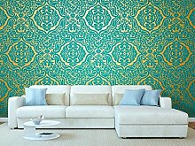 Goldene Damast Wandtapete mit blauem Stoffmuster | Fototapete für Wände | Wandbild | Hintergrundbild | Verschiedene Maße 500 x 300 cm | Dekor Esszimmer, Wohnzimmer, Zimmer …