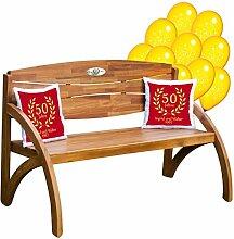 Goldene Hochzeit Set Kissen ROT : Gartenbank Holz