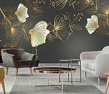 Goldene Linien 3D Tapeten -250Cmx180Cm Schöne