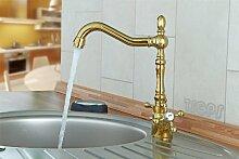 Goldene Nostalgie Retro Küchen Armatur Wasserhahn