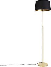 Goldene Stehlampe mit Baumwollschirm schwarz mit