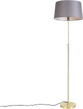 Goldene Stehlampe mit Leinenschirm dunkelgrau 45