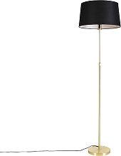 Goldene Stehlampe mit Leinenschirm schwarz 45 cm -