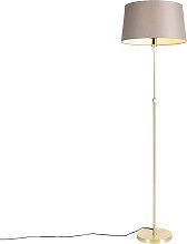 Goldene Stehlampe mit Leinenschirm taupe 45 cm -