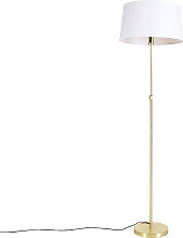 Goldene Stehlampe mit Leinenschirm weiß 45 cm -