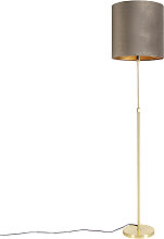 Goldene Stehlampe mit Samtschirm taupe mit Gold 40