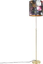 Goldene Stehlampe mit Veloursschirm Blumen mit