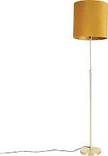 Goldene Stehlampe mit Veloursschirm ocker mit Gold