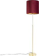 Goldene Stehlampe mit Veloursschirm rot mit Gold