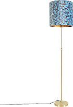Goldene Stehlampe mit Veloursschirm Schmetterlinge