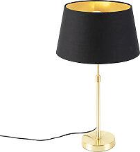 Goldene Tischlampe mit Baumwollschirm schwarz mit