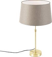 Goldene Tischlampe mit Leinenschirm taupe 35 cm -