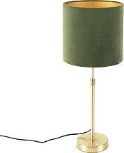 Goldene Tischlampe mit Samtschirm grün mit Gold
