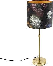 Goldene Tischlampe mit Veloursschirm Blumen mit