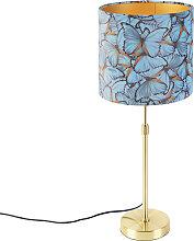 Goldene Tischlampe mit Veloursschirm