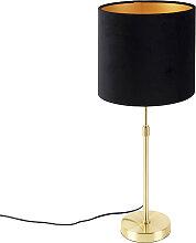 Goldene Tischlampe mit Veloursschirm schwarz mit