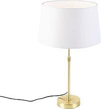 Goldene Tischleuchte mit weißem Leinenschirm 35