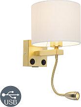 Goldene USB Wandlampe mit weißem Schirm - Brescia