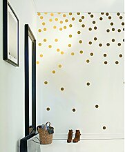 Goldene Wandaufkleber, Punkte (200 Aufkleber),