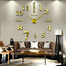 Goldene Wanduhr, Wohnzimmer Mode Kunst Uhr, DIY