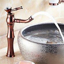 Goldene Wasserhähne Continental mixer Cu alle amerikanischen heißen und kalten Porzellan desktop Becken Rose Gold antik Beschläge, Sitzbank Waschtischmischer [B1)]