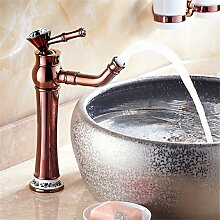 Goldene Wasserhähne Continental mixer Cu alle amerikanischen heißen und kalten Porzellan desktop Becken Rose Gold antik Beschläge, Sitzbank Waschtischmischer [B2])