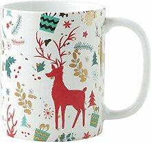 Goldene Weihnachtsbecher Keramiktasse Trinkbecher