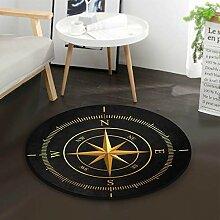 Goldener Kompass schwarz runde Fläche Teppich