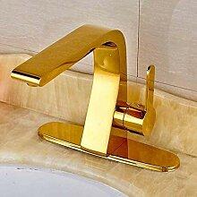 Goldener Messing-Badarmatur Einhandhahn mit