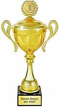 Goldener Pokal INKLUSIVE Gravur ★ 30 cm Trophäe Geschenk Geschenkidee Muttertag Vatertag Hochzeit Goldene Valentinstag Weihnachtsgeschenk Geburtstagsgeschenk ★