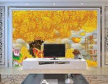 Goldener Vermögensbaum 3D Tapeten -200Cmx140Cm