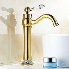 Goldener Wasserhahn mit Keramikgriff, heißer und