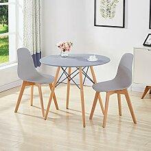 GOLDFAN Esstisch mit 2 Stühlen Matt Esstisch Rund