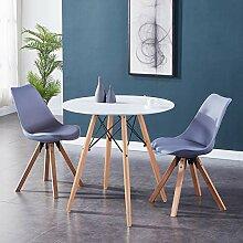 GOLDFAN Esstisch mit 2 Stühlen Rund Esstisch aus