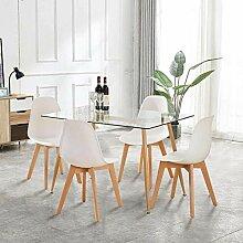 GOLDFAN Esstisch mit 4 Stühlen 120cm Rechteckiger