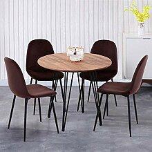 GOLDFAN Esstisch mit 4 Stühlen Essgrupp Runder